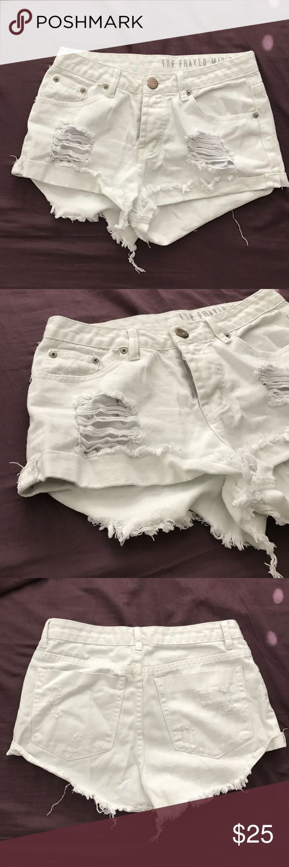 White MidRise Ripped Shorts Size 4 Shorts. Never worn. Perfect for any casual outfit! A perfect staple piece to add to your closet! No trades. Cotton On Shorts Jean Shorts