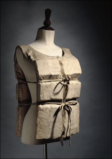 Life preserver worn by Titanic survivor Laura Mabel Francatelli on the night the ship sank (1912).