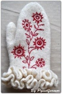 Designed and made by Swedish renowned wool embroiderer Carina Olsson. Her books and courses have been launched in Sweden through 00s on the wool and bead embroidery methods | Embroidered Swedish mitten