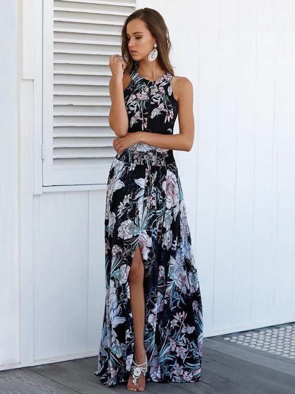 9bac84abba Floral-printed Sleeveless Split-side Backless Maxi Dress   My Style ...