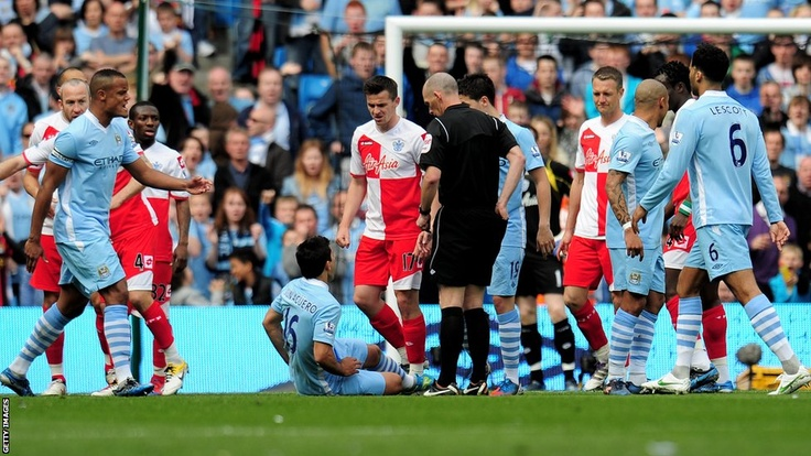 13th April 2012: Moment of Madness. Barton is shown a straight red card, but leaves the pitch by kicking Sergio Aguero and sticking his head into Kompany's face. He has to be restrained and will be facing a possible 10 match ban from the FA