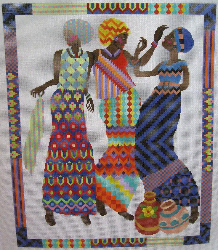 0 point de croix -femmes africaines multicolores  cross stitch colourful african women