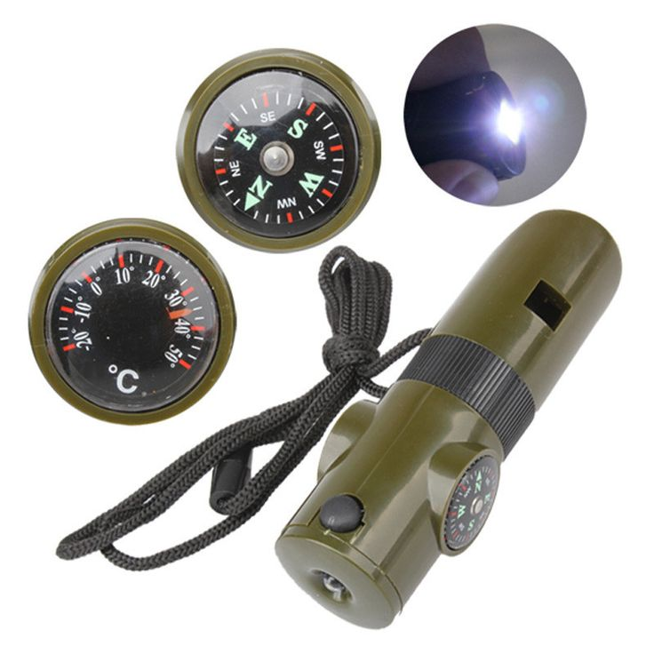 7 in 1 Multifunctional Military Survival Kit Magnifying Glass Whistle Compass Thermometer LED Light EA14