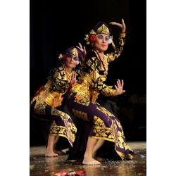 This beautiful costume is gold-gilded and can be used for teruna jaya dance. A complete set includes: gold-painted cloth, gold-painted long sleeves, gold-painted wrap-around or one-piece bodice.
