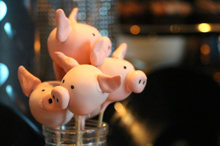 "Guests of Mount Sinai Hospital's 'Scotch Rocks' Fundraiser had to stop & ""squeal"" when they saw these piglet cake-pops inspired by Pink Floyd."