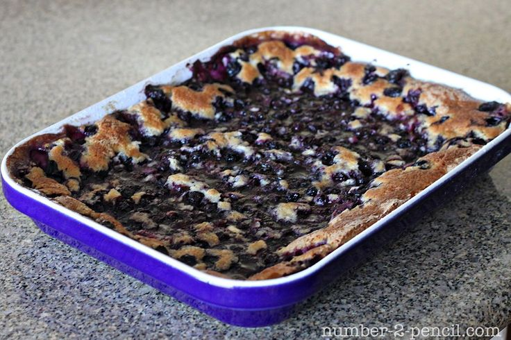 Blueberry Cobbler....Best ever recipe. Turns out creamy and soupy (not too soupy) like a cobbler should be. My problem in the past was that my cobblers turned out more like a blueberry cake. I LOVE this recipe