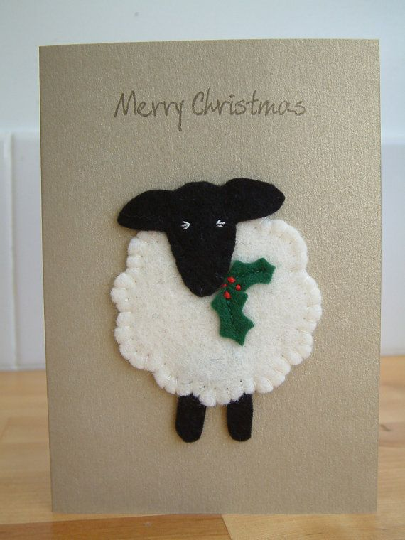Christmas Card  Festive Sheep  Yule  Merry by MichelleGood on Etsy