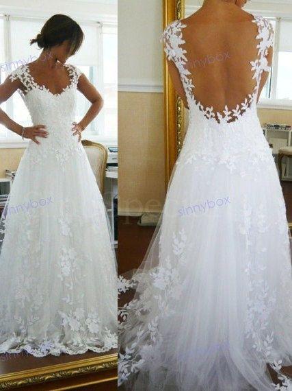 A Line Lace Flower Wedding Dresses, Unique Leak Back Wedding Gown, Custom Wedding Dress on Etsy, $239.99