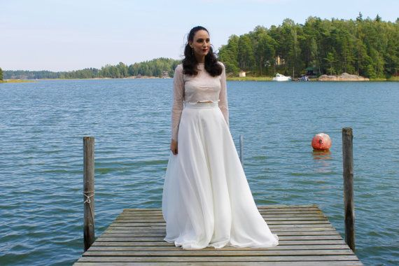 Long sleeve wedding dress crop top wedding by BatelBoutiqueBridal