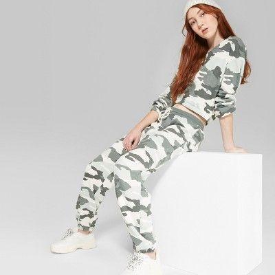 c7a0e1f213322 Women's Jogger Camo Print Vintage Sweatpants - Wild Fable™ Green XS : Target