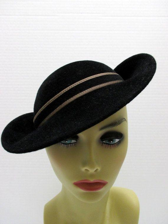 Josephine Tripoli Hat, 1960s Black hat, CustomMade Designer hat, Vintage black hat. Tripoli black hat, 60s black wool hat