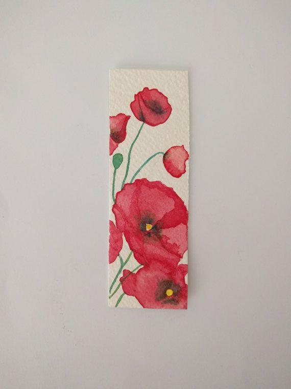Segnalibro con fiori  papaveri rossi  fatto a di Moonaacquerelli