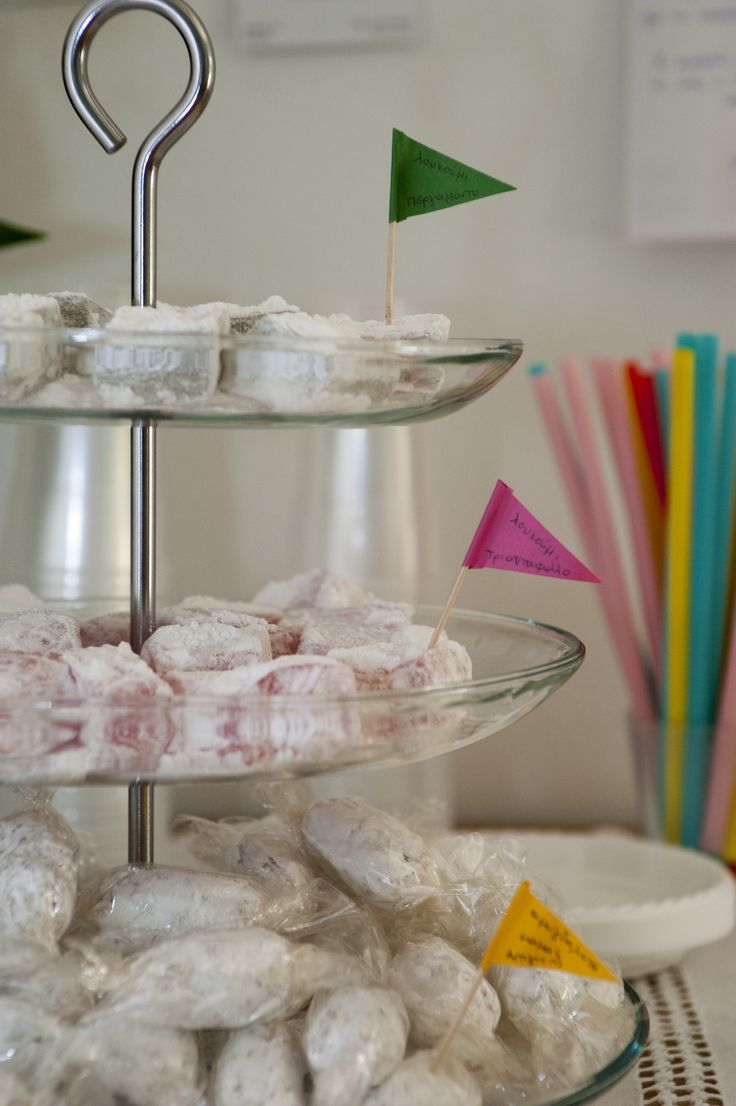 Turkish delight and marzipan sweets (λουκούμια και αμυγδαλωτά) for our guests