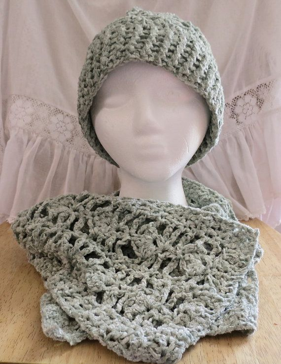 Scarf and Hat Set Crocheted in Chenille Light Sage by luvncrafts
