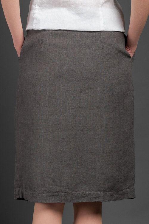 Woman linen skirt linen summer skirts mid length by HomeOfNature