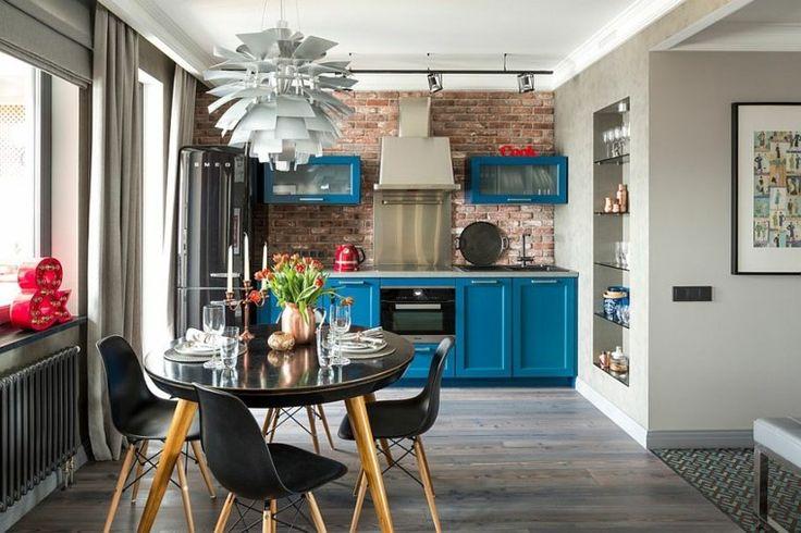 déco de cuisine avec mur en briques