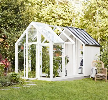 Växthus - växthus med bod - växthus med förråd - trädgård - odla - växter