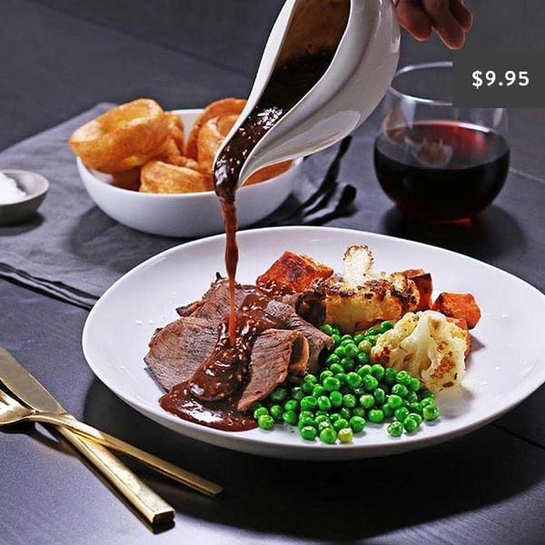 YouFoodz | The Royal Roast $9.95 | Think juicy roast beef with a beautiful dijon mustard jus and partnered with some hearty roast sweet potato and cauliflower, with a helping of blanched peas | #Youfoodz #HomeDelivery #YoullNeverEatFrozenAgain