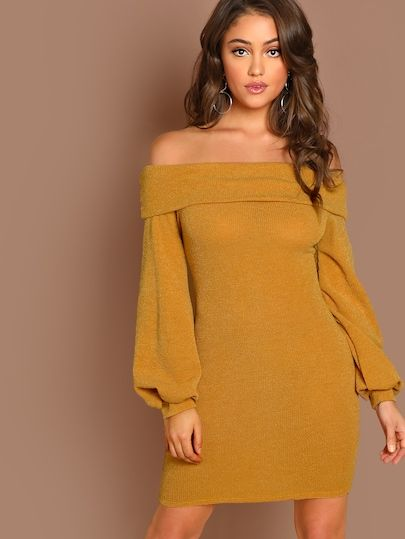 764a8c9032 Fold Off The Shoulder Long Sleeve Knit Mini Dress | Christmas List ...