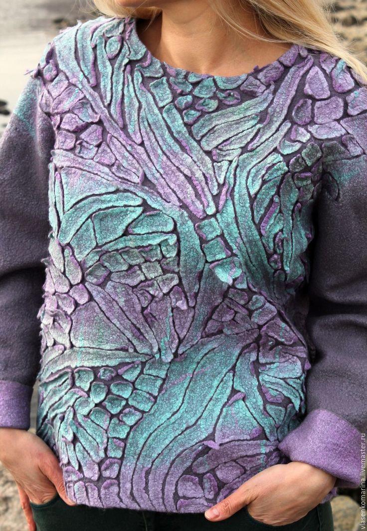 Купить Свитер валяный Серый хамелеон бронь - комбинированный, абстрактный, серый цвет, свитер валяный