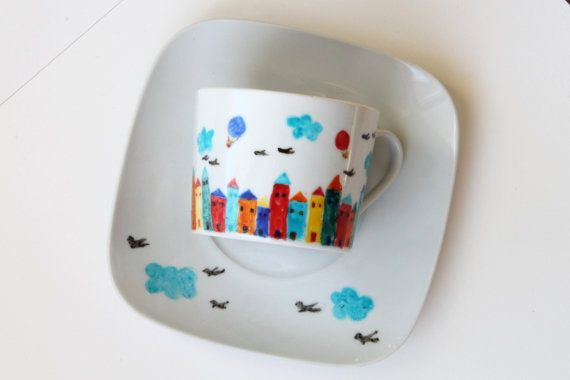 Hand painted cup little houses colorful city by NataliesWunderland