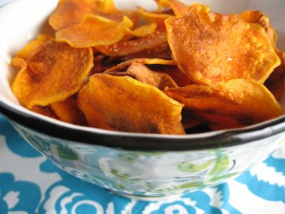 Baked Squash Chips. I'll be using yellow straight neck squash fresh from Grandpa's garden! [√]