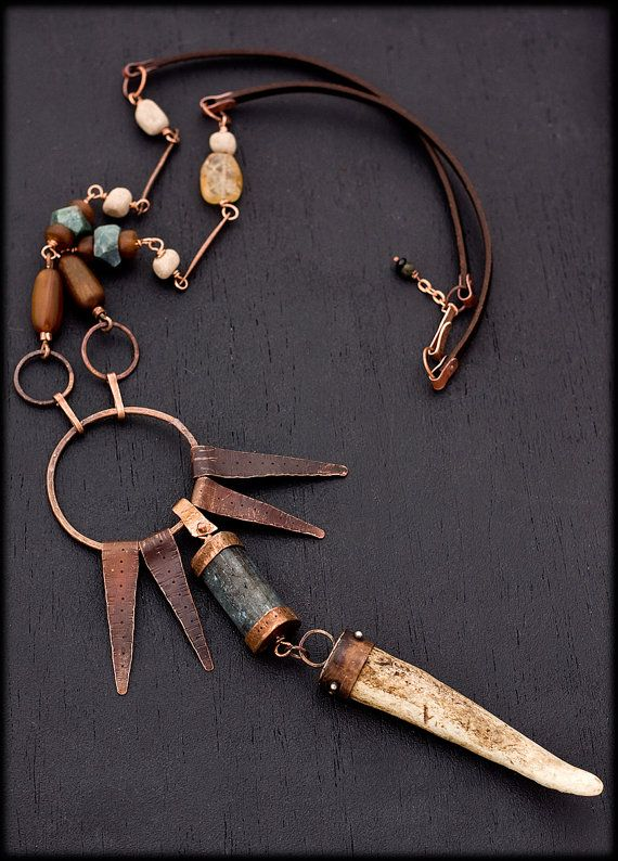 Copper and Antler Talisman necklace with by AnniamAeDesigns