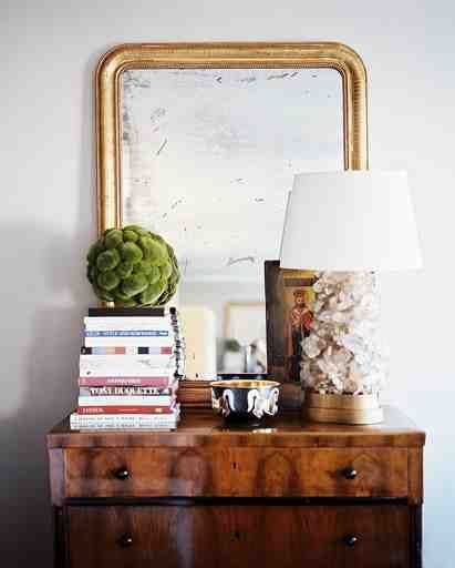 Love this display and that gorgeous antique mirror.