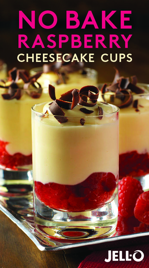 """No way anyone can say """"no"""" to these No Bake Raspberry Cheesecake Cups. Made with JELL-O Vanilla Instant Pudding, PHILADELPHIA Cream Cheese, raspberries and BAKER'S Semi-Sweet Chocolate shavings."""