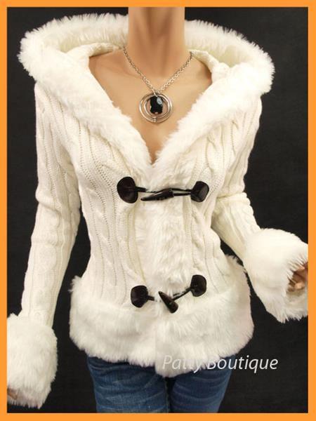Вязаная куртка с меховой отделкой