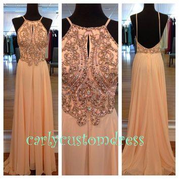 Long Blush Pink Prom Dress/Beaded Bridesmaid Dress/Peach Red Grey Chiffon Evening Dress/Homecoming Dress/Graduation Dress/Formal Dress