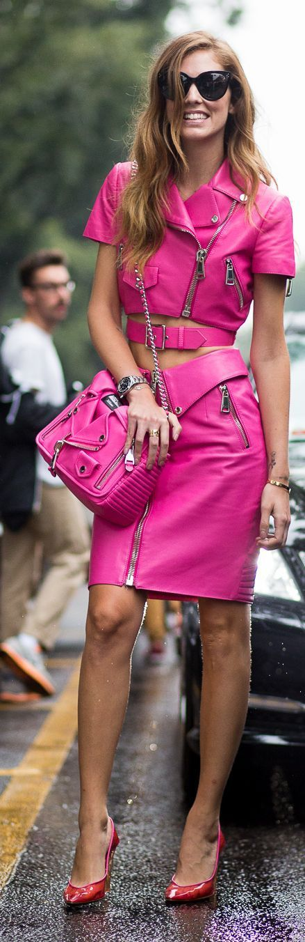 Hot pink dress and jackets with loads of aluminum zippers.