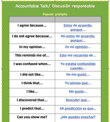 sentence starters in Spanish and English ~ good for class discussions where opinions are shared