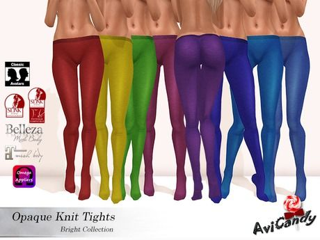 :AC: Knit Tights[Bright Colllection]***For Classic Avatars, Slink Physique, Belleza Venus, Maitreya Lara, and Omega***