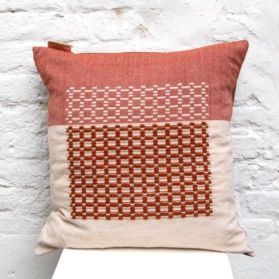 Large Rusty Orange Cushion handwoven cushion by Zoe Acketts, available to buy online or at Golden Hare Gallery in Ampthill, Bedfordshire
