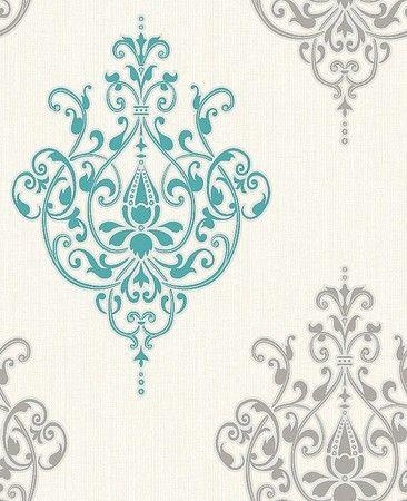 teal and grey | Holden Decor Cassandra Teal White Damask Wallpaper 75474