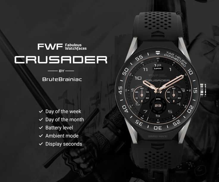 Crusader watch face by BruteBrainiac / #fwf #fabulouswatchfaces #androidwear #moto360 #huaweiwatch #tagheuer #huaweiwatch #smartwatch #watchface