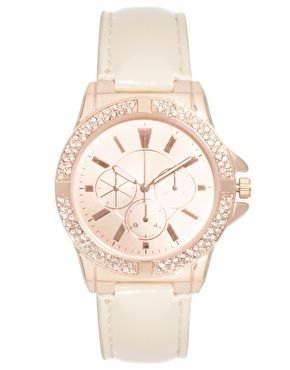 Enlarge ASOS Rose Gold Watch with Nude Strap