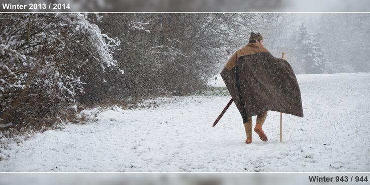 Ottonisch/frühmittelalterlich gekleidet im steirischen Schneegestöber