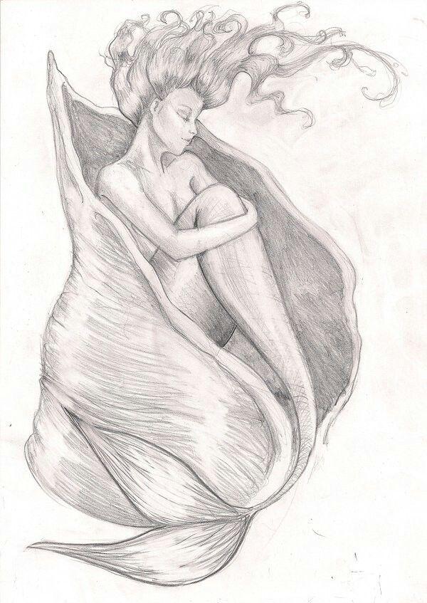 Картинки русалка в карандашей