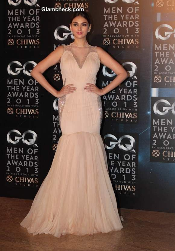 Aditi Rao Hydari in Gaurav Gupta Fishtail Gown at 2013 GQ Man of the Year Awards