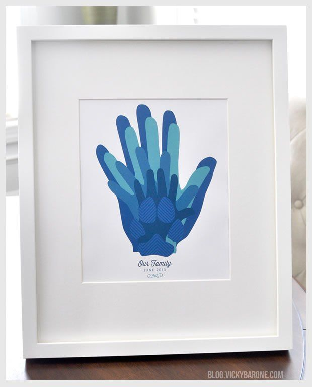 Father's Day Family Hand print collage with paw print! Great gift idea for any holiday.
