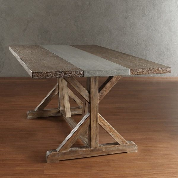 SIGNAL HILLS Benchwright Rustic Pine Trestle Reinforced Concrete Dining Table