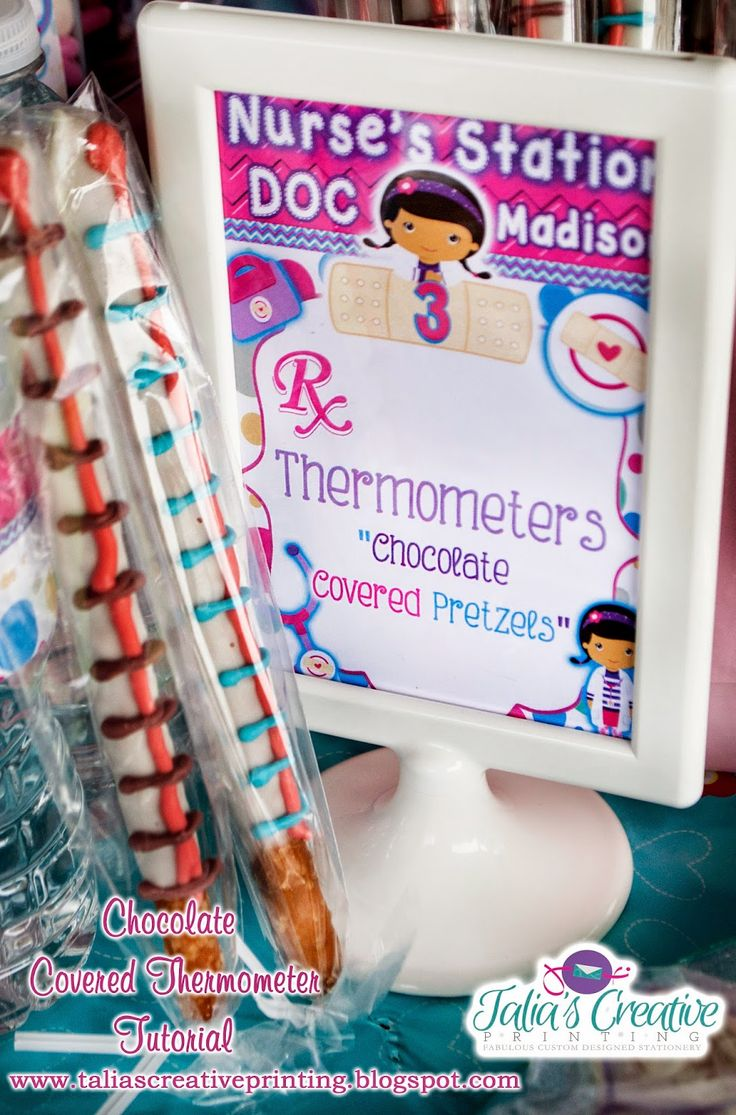 Talia's Creative Printing: {Tutorial} Chocolate Covered Thermometers {Doc Mcstuffins Party}: