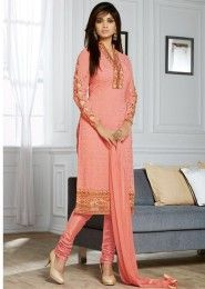 Party Wear Peach Georgette Embroidered Work Straight Suit