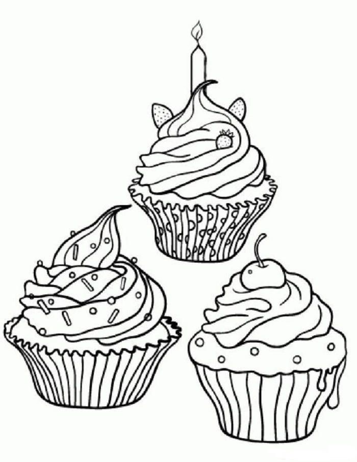Decorative Cupcakes Coloring Pages Cupcake Coloring Pages Food Coloring Pages Free Coloring Pages