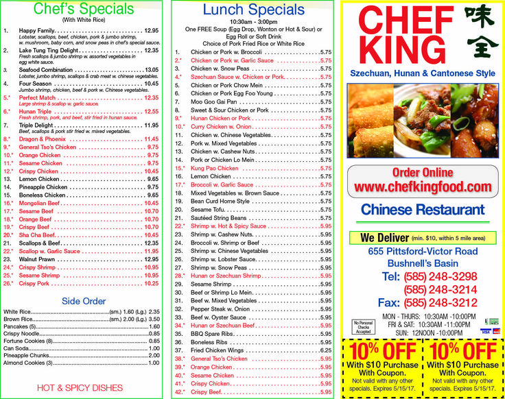 Chef King's Menu shows off its delicious Chinese food in Rochester NY!