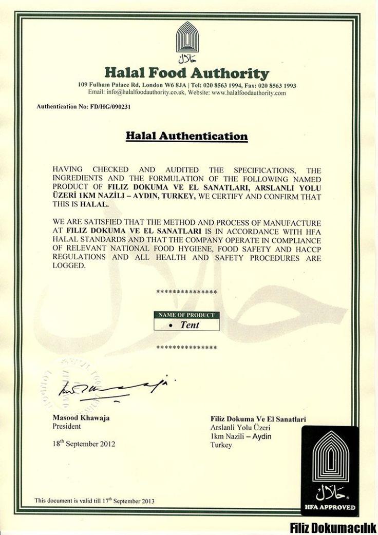 HFA-certificate -  Halal Food Authority