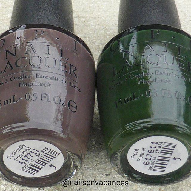Ulta exclusive shades from the OPI Washington fall collection. Politically Polished is a savvy plum accordind to the Ulta description and Front Runner is a sophisticated green...