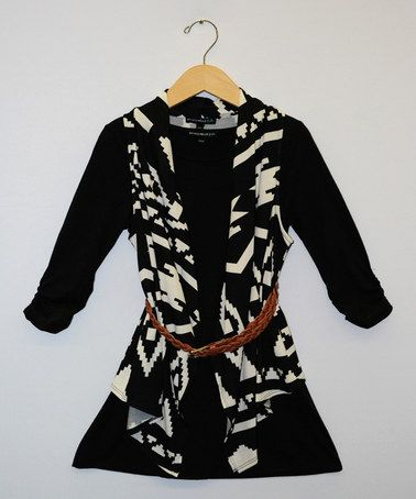 This Black & White Belted Dress & Cardigan Set - Girls by My Michelle is perfect! #zulilyfinds